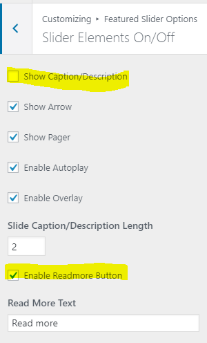 I've turned off the Caption/Description. The Readmore button is enabled but does not appear on slider